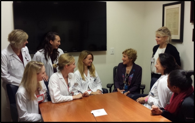 Dr. Sarah Donaldson meets with a group of residents